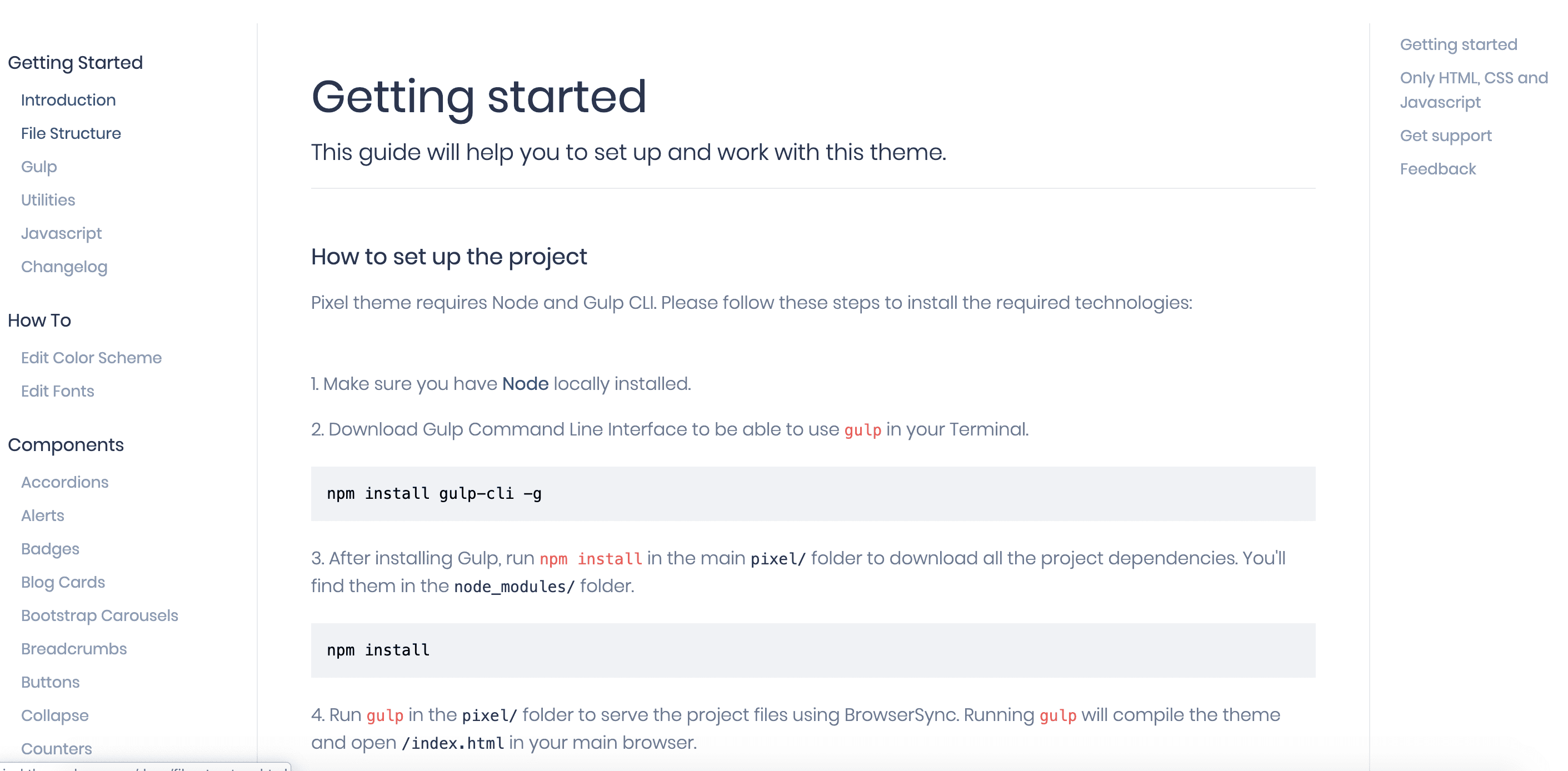 Getting Started Page Pixel Bootstrap 4 UI Kit Documentation